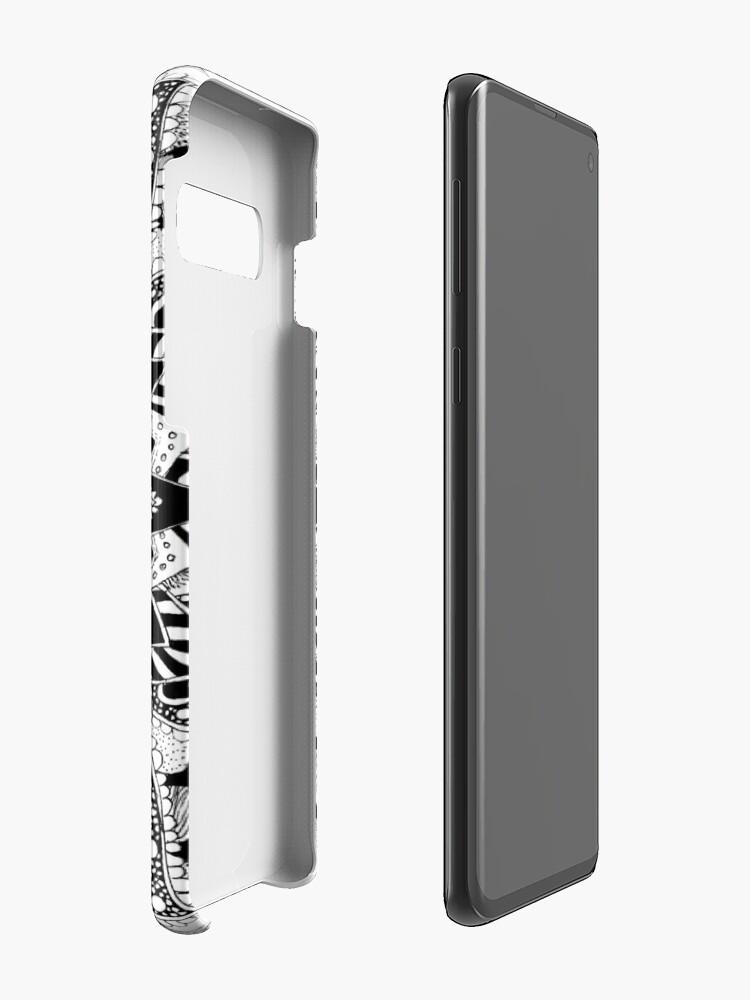 Alternative Ansicht von Blumen Mandala Schwarz und Weiß Hülle & Klebefolie für Samsung Galaxy