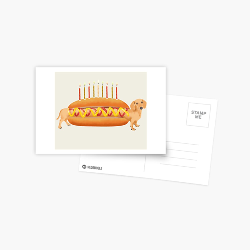 Pleasant Hot Dog Dachshund Dog Birthday Dog Sausage To Eat With Ketchup Funny Birthday Cards Online Aeocydamsfinfo