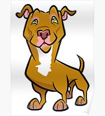 Red Pit Bull Poster