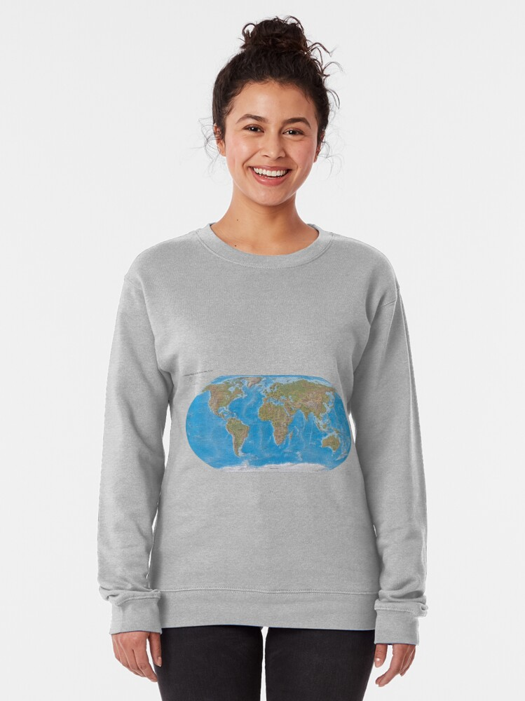 Alternate view of #Physical #Map of the #World 2003 Pullover Sweatshirt