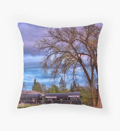Rural Train Yard Throw Pillow