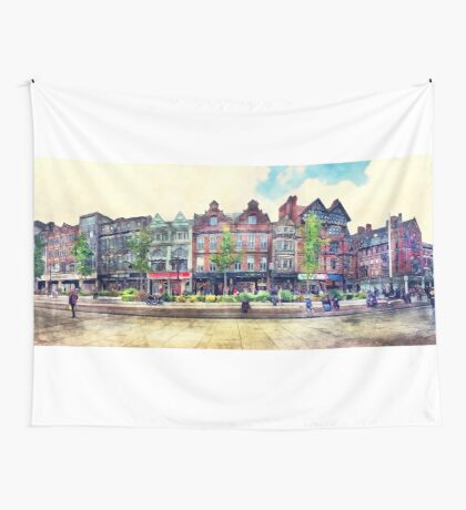 Nottingham panorama city watercolor Wall Tapestry
