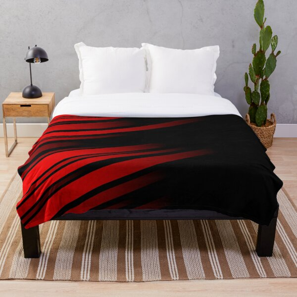 Red and Black Striped Throw Blanket