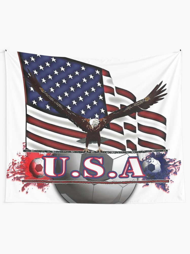 Alternate view of Red White & Blue USA Soccer with Eagle & Flag Tapestry