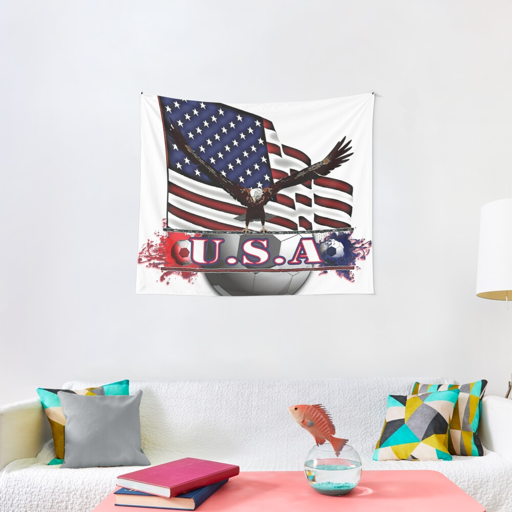 Red White & Blue USA Soccer with Eagle & Flag Tapestry
