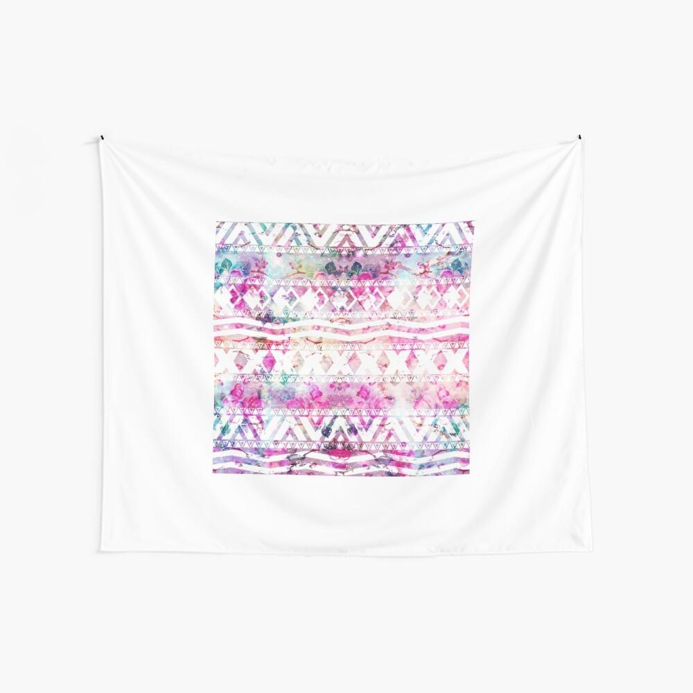 Blumennebelfleck des modernen aztekischen Musteraquarells Wandbehang