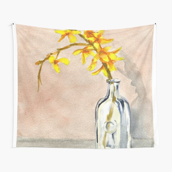 forsythia in antique jar with keyhole stamp, 2 of 2 Tapestry