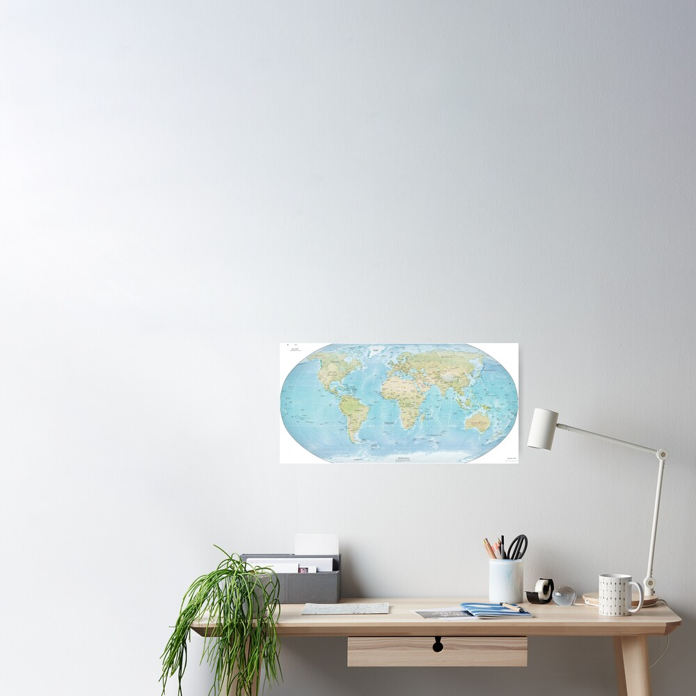Physical Map of the World 2015 Poster