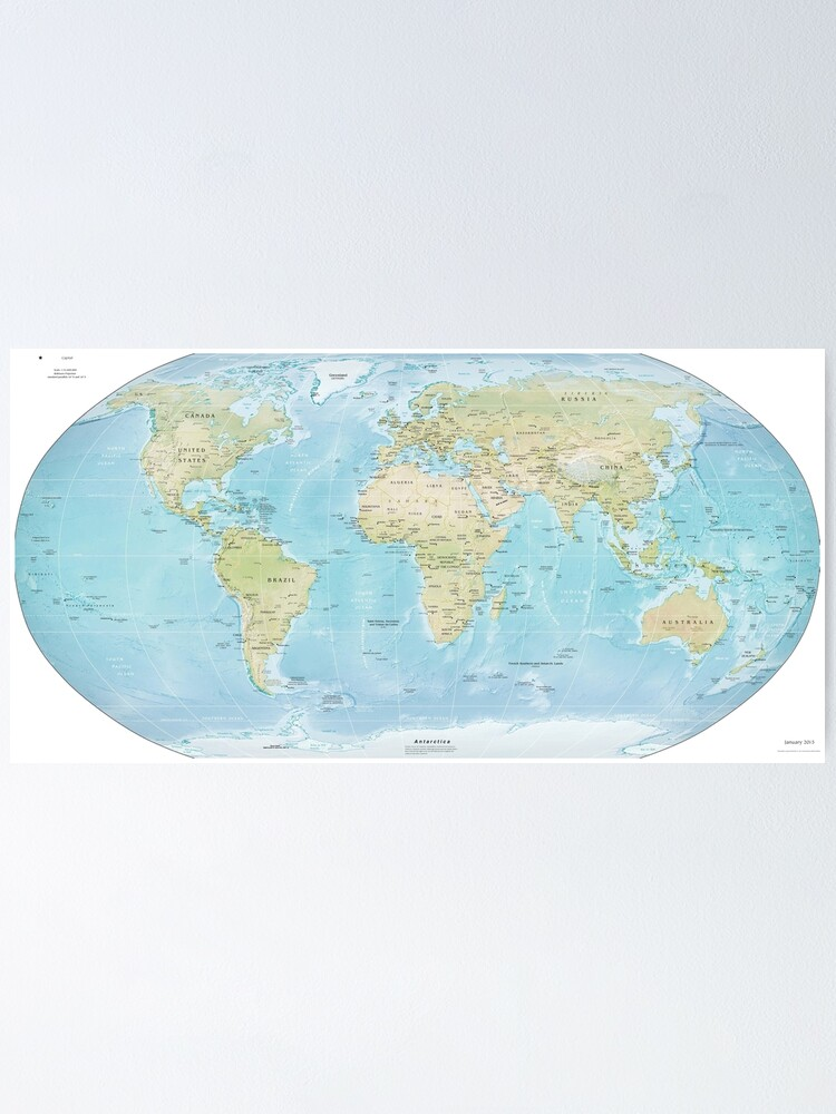 Alternate view of Physical Map of the World 2015 Poster