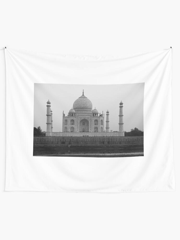 Alternate view of Taj Mahal in black and white Tapestry