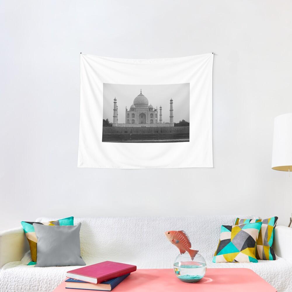 Taj Mahal in black and white Tapestry