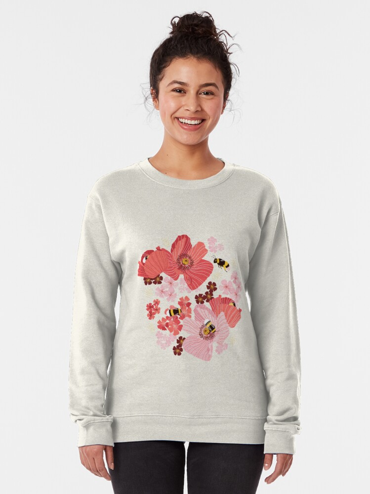 Alternate view of Bumblebees and pollen (with stickers) Pullover Sweatshirt
