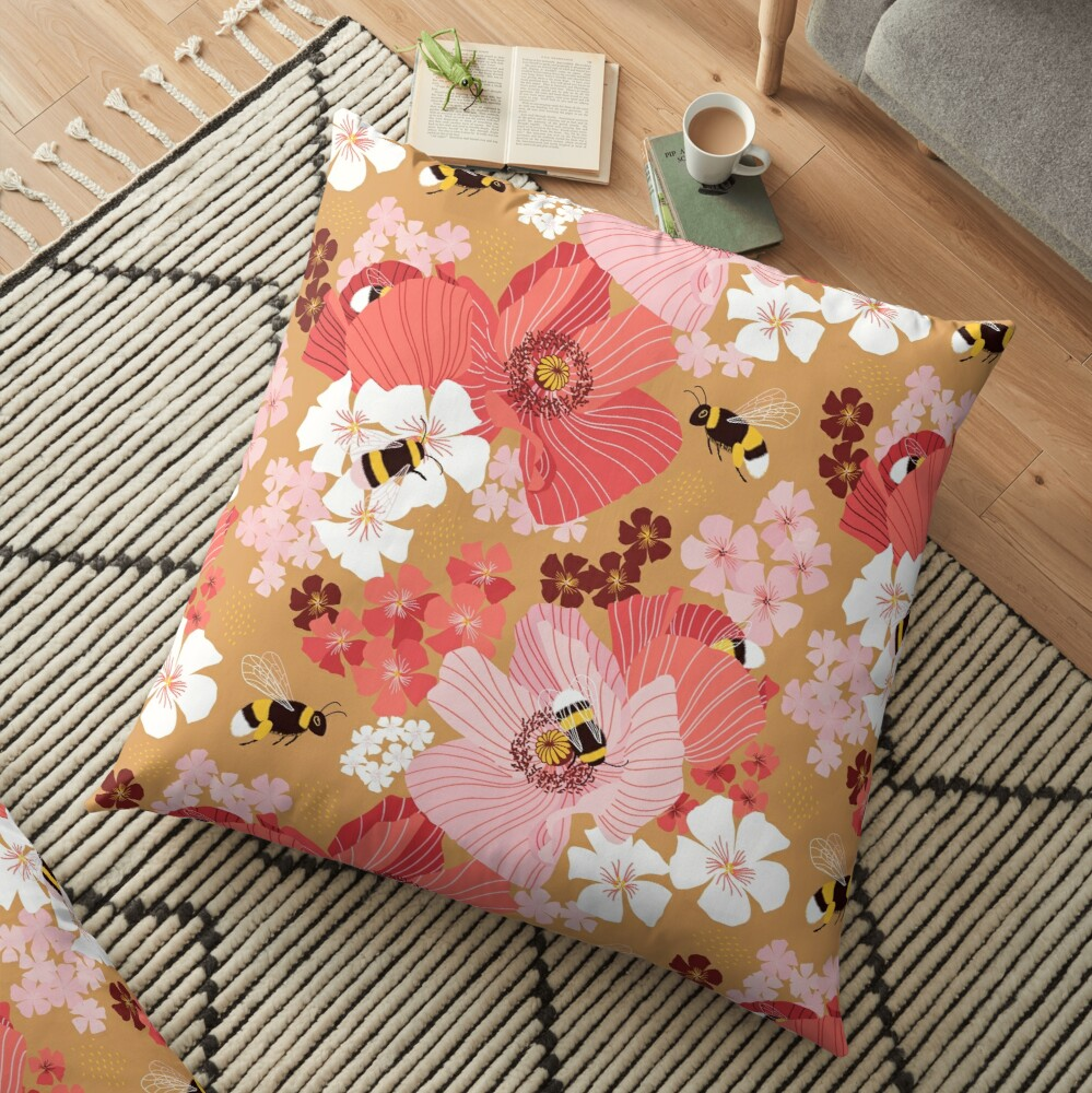 Bumblebees and pollen (with stickers) Floor Pillow