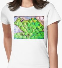 Frog funny textured colorful frog Womens Fitted T-Shirt