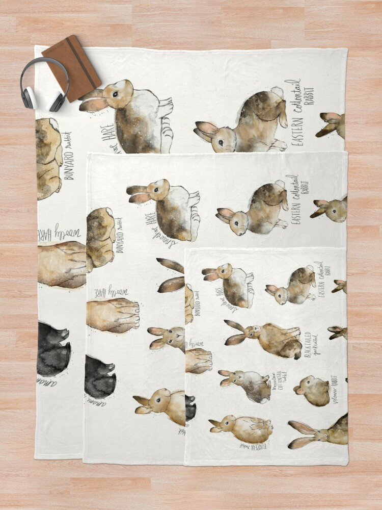 Alternate view of Rabbits & Hares Throw Blanket