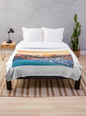 Spain Balearic Island Palma De Majorca With Harbour And Cathedral Throw Blanket