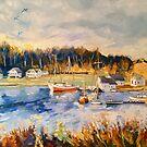 'Sunset, Stavanger, Norway, from Torhild's house' oil by Elizabeth Moore Golding