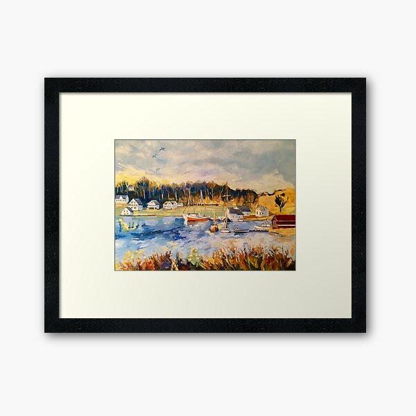 'Sunset, Stavanger, Norway, from Torhild's house' oil Framed Art Print