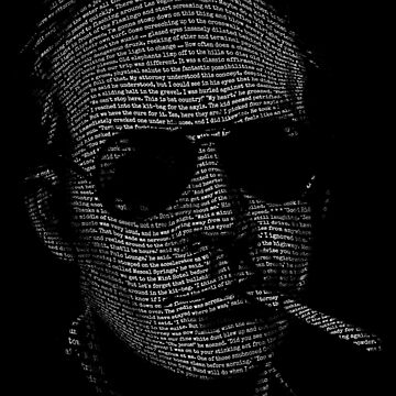 Hunter S Thompson Fear and Loathing in Las Vegas text portrait t shirt by 6amCrisis