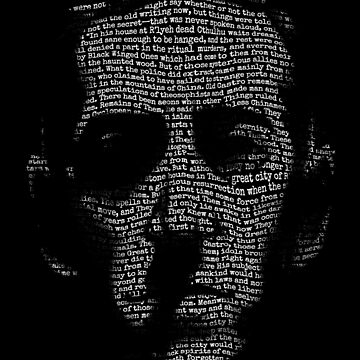 H P Lovecraft Call of Cthulhu text portrait Necronomicon tshirt for literature lovers by 6amCrisis