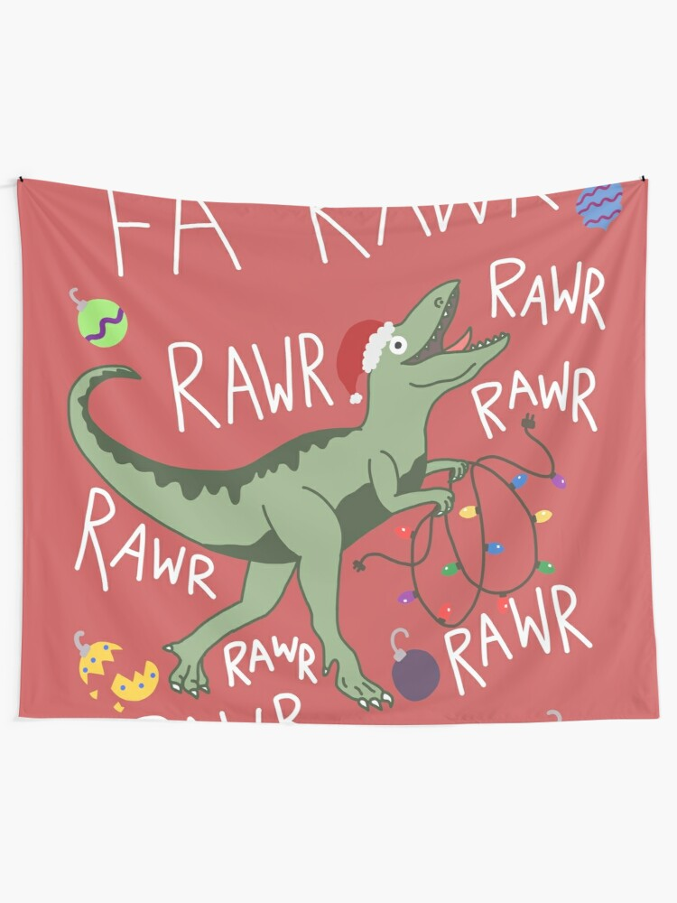T Rex Christmas.T Rex Christmas Dinosaur Dinosaur Christmas Wall Tapestry