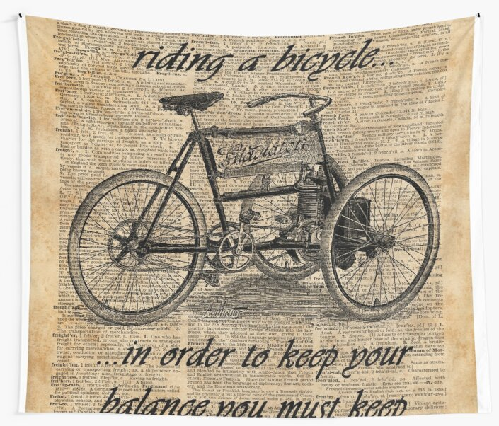 Vintage Bike Print Dictionary Page Wall Art Picture Quote Life Is Good Steampunk