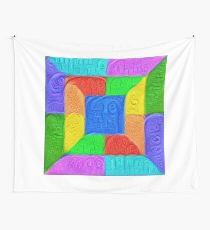 DeepDream Color Squares Visual Areas 5x5K v13 Wall Tapestry