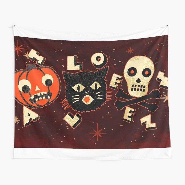 Halloween pumpkin cat skull vintage Tapestry
