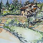 La Vigna Anghiari, the neighbours Pen and wash by Elizabeth Moore Golding