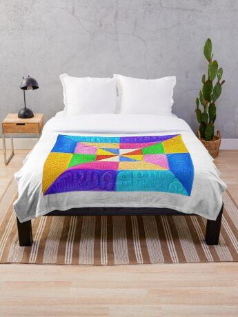 DeepDream Color Squares Visual Areas 5x5K v1448123183 Throw Blanket