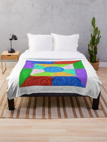 DeepDream Color Squares Visual Areas 5x5K v17 Throw Blanket