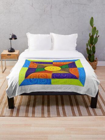 DeepDream Color Squares Visual Areas 5x5K v1447854295 Throw Blanket