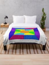 DeepDream Color Squares Visual Areas 5x5K v19 Throw Blanket