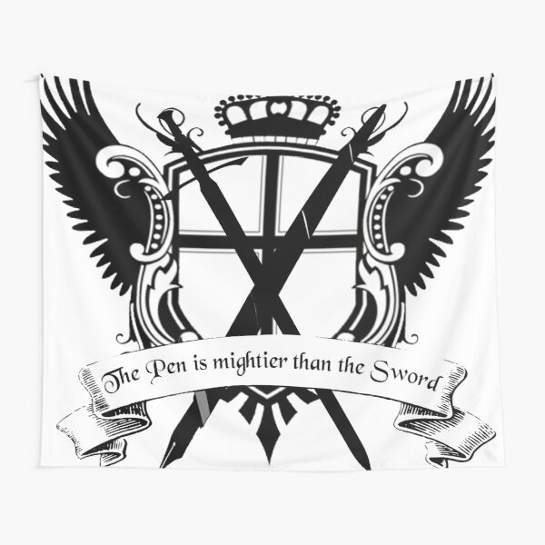 Pen is mightier than the sword crest Tapestry
