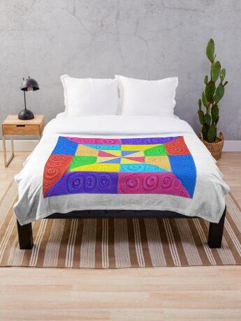 DeepDream Color Squares Visual Areas 5x5K v1448115896 Throw Blanket
