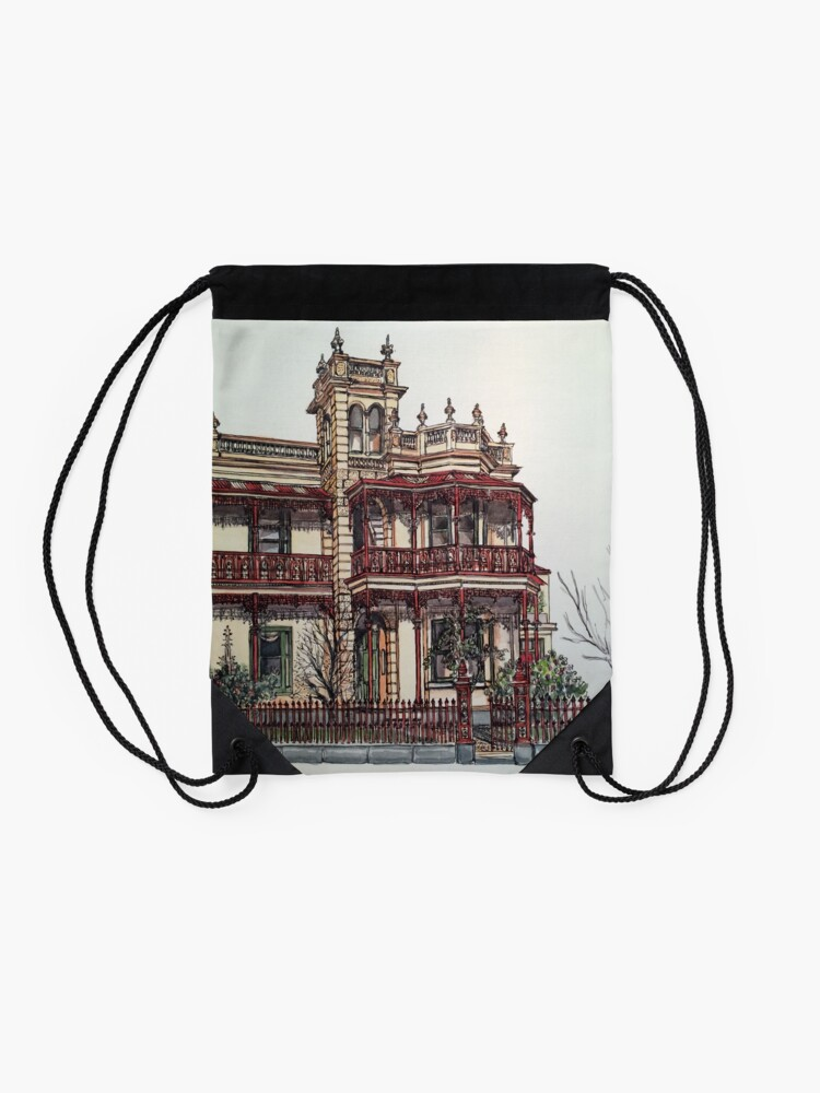 Alternate view of Phryne Fisher's house 'Wardlow'©.  Drawstring Bag