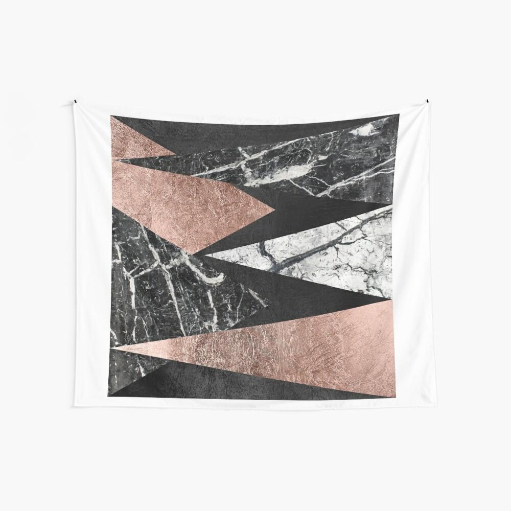 Elegant Modern Marmor, Rose Gold & Schwarz Folie Dreiecke Wandbehang