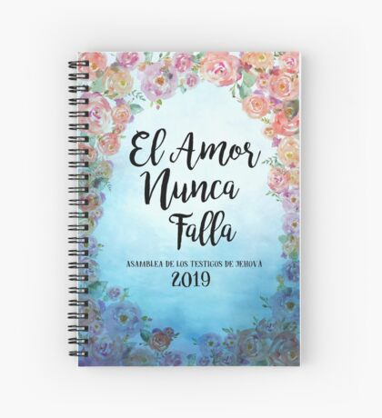 """Spanish """"Love Never Fails""""! 2019 Regional Convention of Jehovah's Witnesses (Floral Blue) Spiral Notebook"""