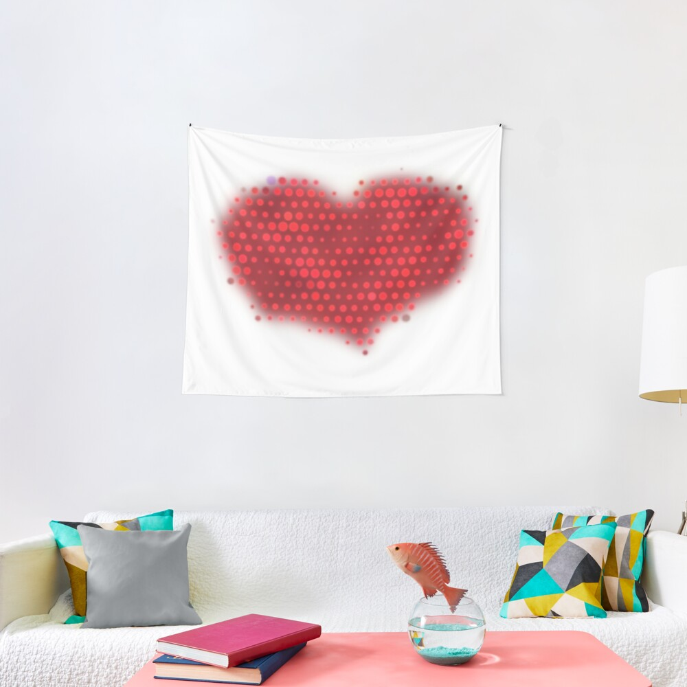 Glowing Red Heart Tapestry