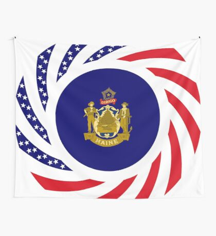 Maine Murican Patriot Flag Series 1.0 Wall Tapestry
