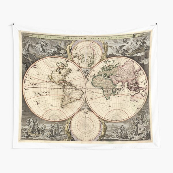 Vintage Map of The World (1690) Tapestry