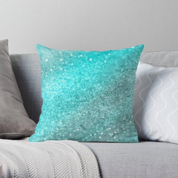 Aqua Teal Ocean Glitter #1 #shiny #decor #art  Throw Pillow