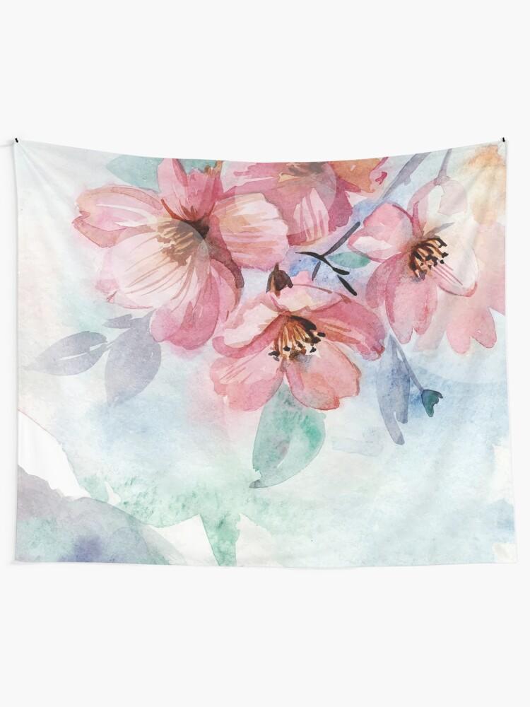 Alternate view of Watercolor Flowers Tapestry