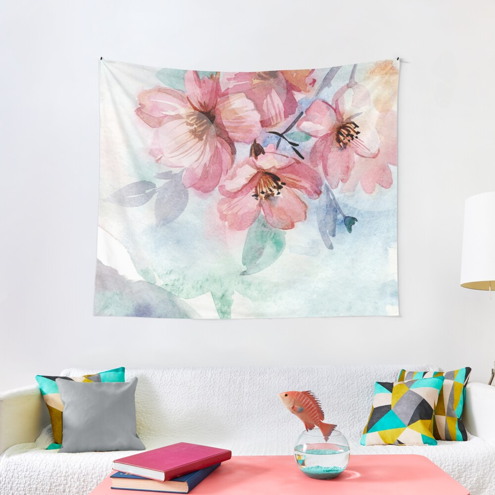 Watercolor Flowers Tapestry