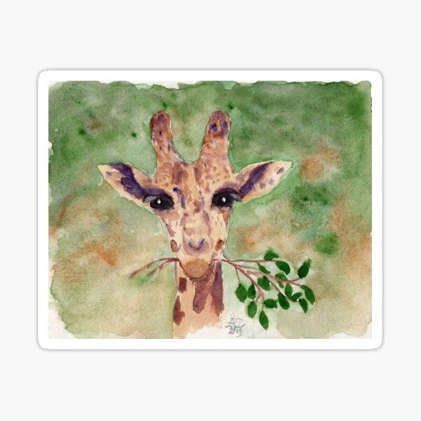 Frohliche Giraffe bei der Mahlzeit Sticker