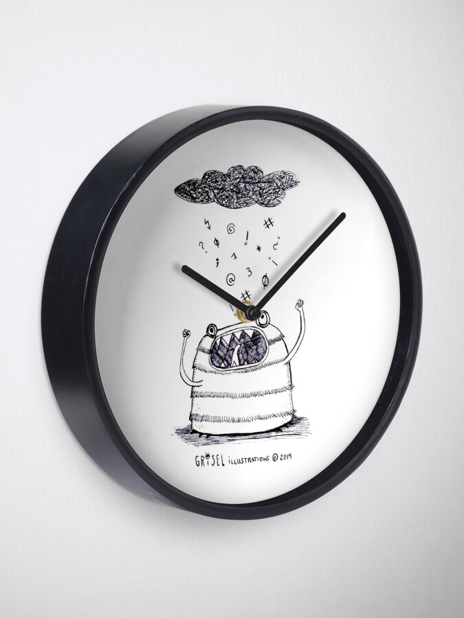 Alternate view of Angry monster Clock