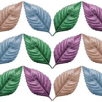 Digitally enhanced image repetitive design of pastel coloured leaves  by PhotoStock-Isra