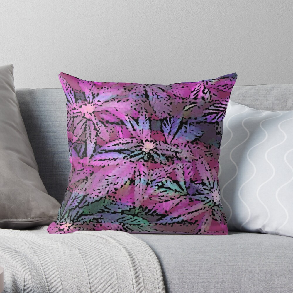 vibrant Psychedelic Cannabis Marijuana Pot Weed Print Throw Pillow