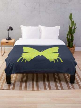 #DeepDream Lemon Lime color Butterfly Throw Blanket