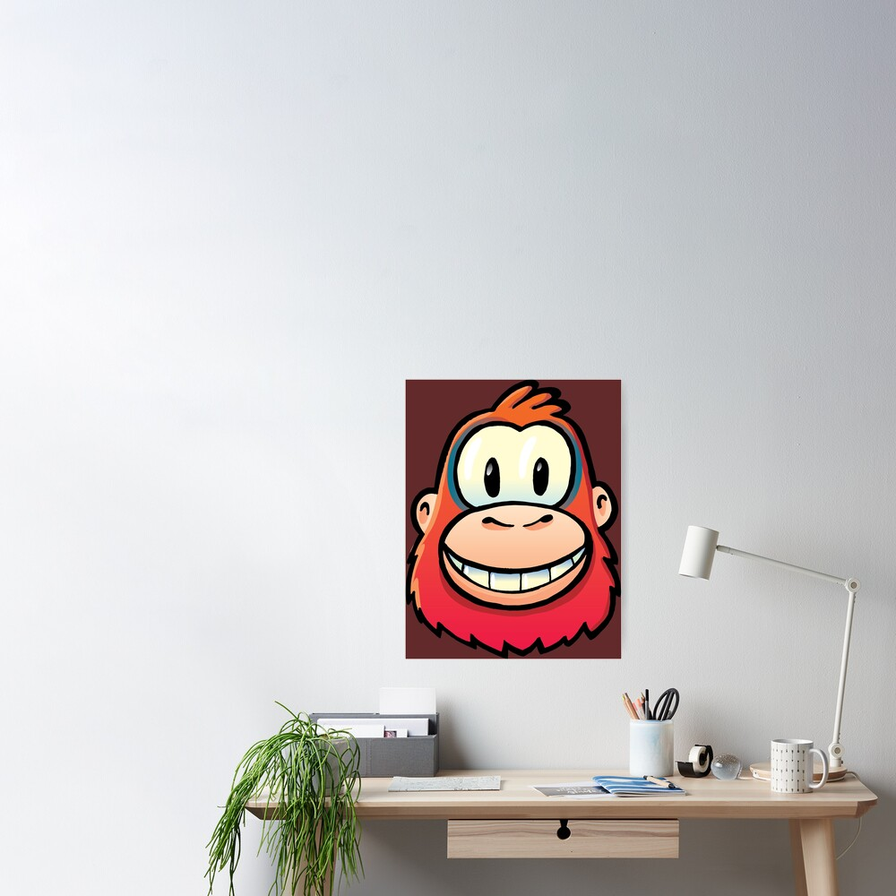 orange orangutan laughing at us Poster